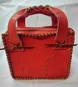 グラブの革製 オンリーワン 手作り ミニトートバック紅桜(レッドXゴールドステッチ)ご予約注文受付中 バトミントン