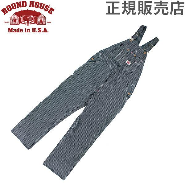 ラウンドハウス Round House #45 デニム オーバーオール ヒッコリー ストライプ メンズ Men Hickory Stripe Bib Overalls ビブ