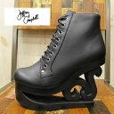 ショッピングJF 【歩くアート!】 SKATE Jeffrey Campbell ( ジェフリーキャンベル ) SKATE ( スケート ) ウェッジ レースアップブーツ ( ウッドソール ) 【BLACK】レザー 本革