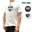 【メール便送料無料☆】【神戸 正規】 FREE RAGE Tシャツ ( フリーレイジ ) 【letters コラボ HEART 】【全2色】 FREERAGE Tシャツ 半袖 パッチワーク Tシャツ [ユニセックス] 219AC593-A SUMI WHT