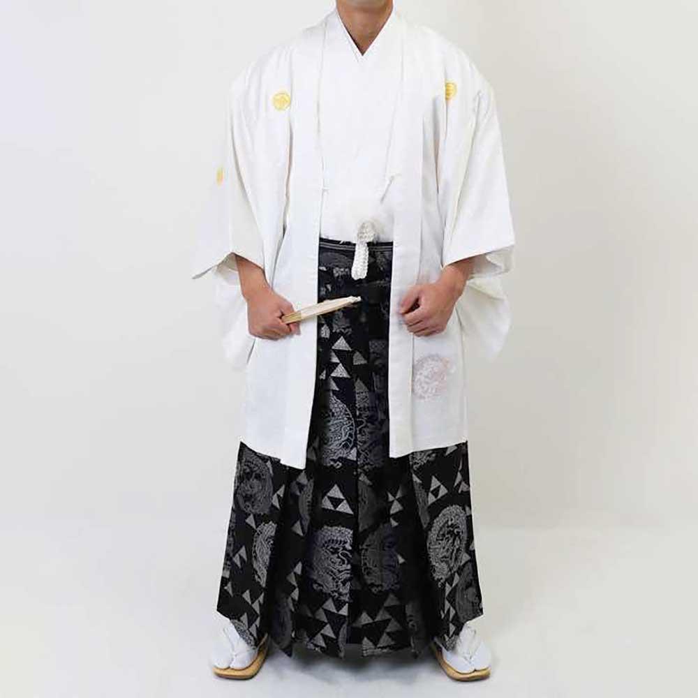 【レンタル】【成人式・卒業式】男性用レンタル紋付き袴フルセット-7002