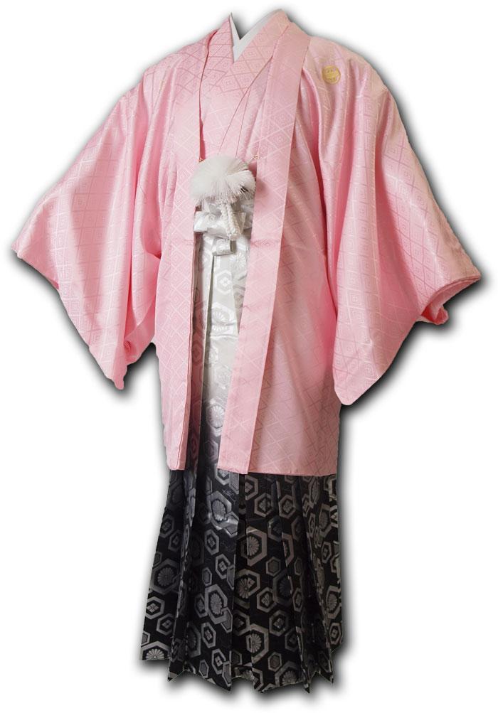 【レンタル】【成人式・卒業式】男性用レンタル紋付き袴フルセット-7134