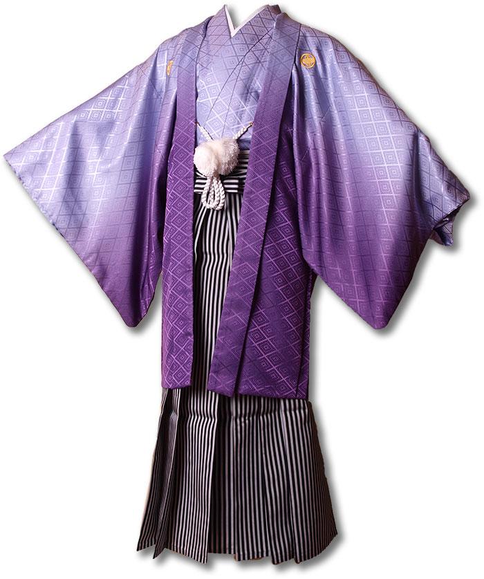 【レンタル】【成人式・卒業式】男性用レンタル紋付き袴フルセット-7209