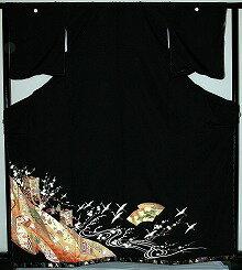 【レンタル】【送料無料】黒留袖レンタルフルセット RT130:御所車に扇面 留袖 結婚式〔レンタル黒留袖〕〔留袖レンタル〕〔留め袖〕〔女性和装〕〔着物レンタル〕〔和服〕【smtb-k】