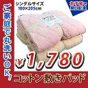 【あす楽】コットン 敷きパッド シングル 丸洗いOK 綿100% 綿パイル 春 夏 清潔 安心 衛生的