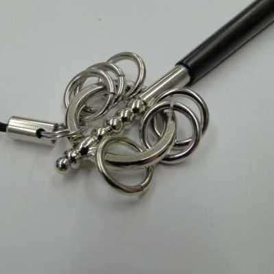 携帯ストラップお守り錫杖(しゃくじょう)シルバー色