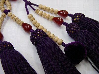 日蓮宗用本連数珠星月菩提樹尺正絹装束紫紺房メノウ入
