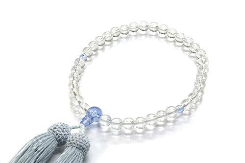 ご紹介します!京職人の手作り念珠!天然石を独自のスターシェイプカットに加工!本水晶ブルークォーツ仕立