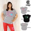 CLAP(クラップ) ラブクラップ2017 ドルマンTシャツ|かわいい「LOVE CLAP」&フラワーモチーフのデザイン ラインが美しいドルマンクラップフィットネスシャツ