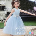 子供ドレス ブルー ピンク ウエスト刺繍と柔らかいチュールの広がりが可愛い フォーマルドレス フラワーガール 七五三 チュールスカー..