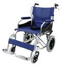 送料無料 車椅子 アルミ合金製 青 約10kg 背折れ 軽量 折り畳み 介助用 介助ブレーキ