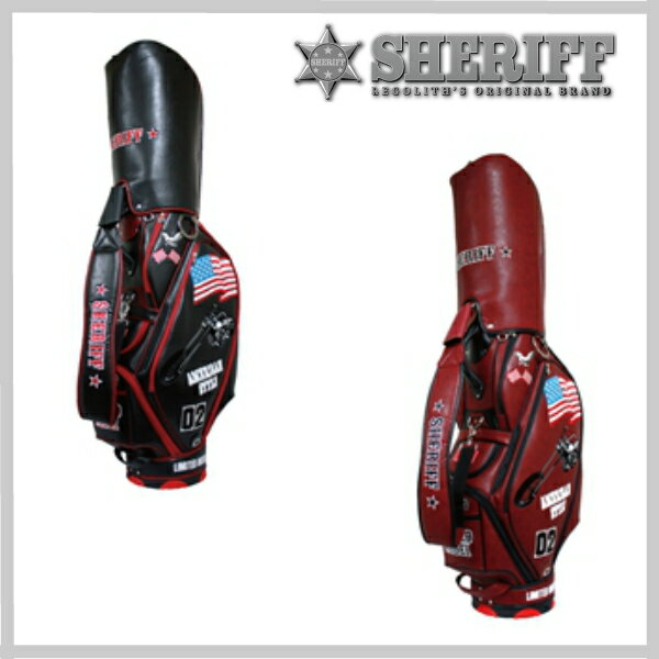 【】【SHERIFF】30%OFF シェリフ キャディバッグ ゴルフバッグ 自立式 最高級合成皮革 おもい
