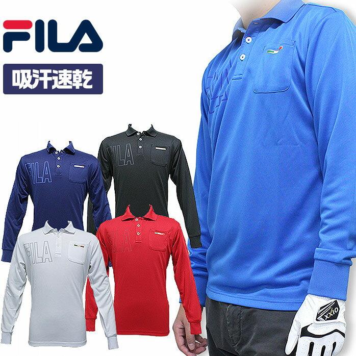 月末SALE税込2980円フィラゴルフポケット付長袖ポロシャツとても落ち着いたデザインの長袖ポロシャ