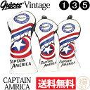 【送料無料】【即納】3個セット ギアット GUIOTE Vintage CAPTAIN AMERICA PUレザー ウッドヘッドカバー (#1・#3・#5) 刺繍 248 【ゴルフ】