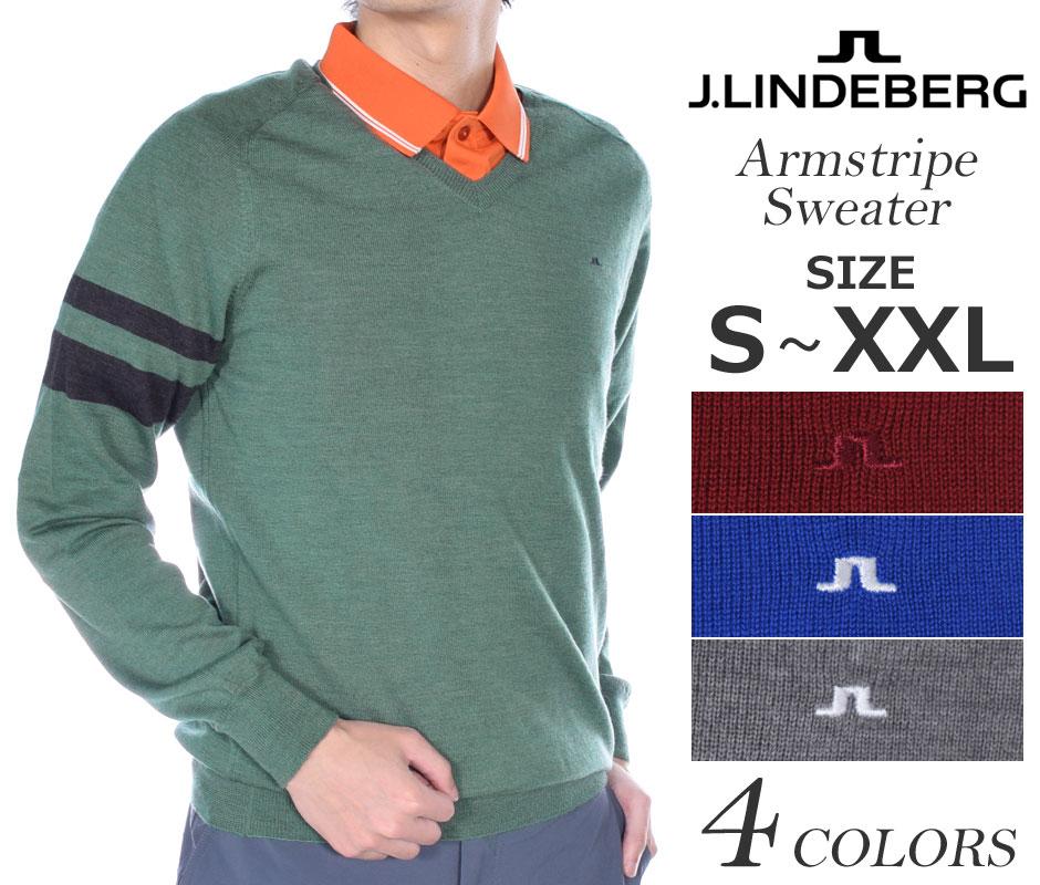 (在庫処分商品)ジェイリンドバーグ長袖メンズゴルフウェアアームストライプ長袖セーター大きいサイズUS
