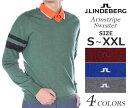 (在庫処分商品)ジェイリンドバーグ 長袖メンズゴルフウェア アームストライプ 長袖セーター 大きいサイズ