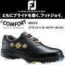 FootJoy(フットジョイ) e-COMFORT eコンフォート・レディースシューズ 98574 [ブラック×ゴールドアーガイル]