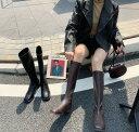 レディースブーツ ロングブーツ エンジニアブーツ ジョッキーブーツ ぺたんこ スクエアトゥ 裏起毛 暖かい 長靴 合皮 ロング..