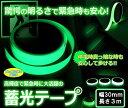 高輝度 蓄光テープ グリーン 暗くなると発光 幅 30mm 長さ3m SAFETY TAPE メール便 送料無料