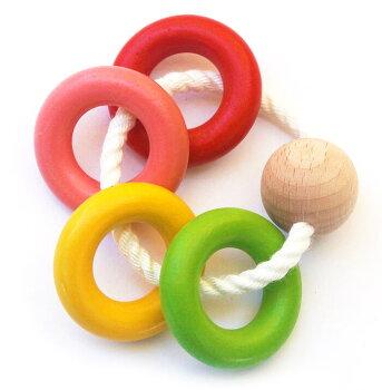 四つ葉リング木のおもちゃ銀河工房出産祝い赤ちゃんおもちゃおしゃぶりガラガラ歯がためベビー0才、1才、2才3才、0歳、1歳、2歳3歳バリアフリー