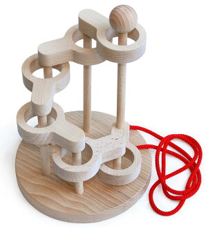SCULPTURAL LINK PUZZLE (6 LEVEL) Wooden Toys (Ginga Kobo Toys) Japan