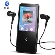 AGPTEK 音楽プレーヤー bluetooth mp3プレーヤー HIFI高音質 2.4インチ 内蔵スピーカー搭載 FM/FM/録音 タッチディスプレイ&パネル 内蔵16GB イヤホン付属 C10 ブラック