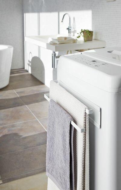 洗濯機横マグネットタオルハンガー2段