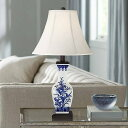 Barnes and Ivy Asian Accent Table Lamp Ceramic Blue お花 Vase White Bell Shade for Living Room Family Bedroom Bedside Nightstand テーブルライト 照明器具 アメリカ【送料無料】【代引不可】【あす楽不可】