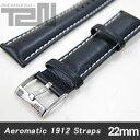 Aeromatic 1912 (エアロマティック1912) A-Band-L-BK-22 純正 替えベルト 22mm レザーベルト ブラック 腕時計