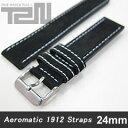 Aeromatic 1912 (エアロマティック1912) A-Band-L-NBK-20 純正 替えベルト 20mm レザーベルト ブラック 腕時計 【あす楽対応】