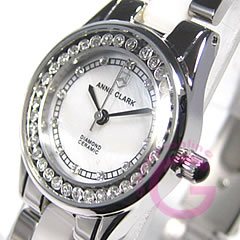 ANNE CLARK (Ann Clark) AM-1024-09/AM1024-09 rhinestone white Lady's watch watch