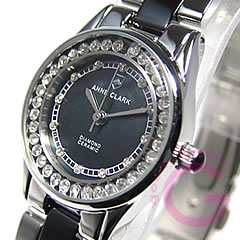 ANNE CLARK (Ann Clark) AM-1024-11/AM1024-11 rhinestone black Lady's watch watch