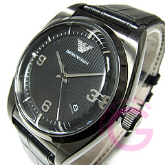 EMPORIO ARMANI (Emporio armani) AR0368 classical music leather belt gunmetal men watch watch