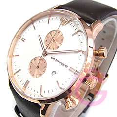 Classic leather belt chronograph pink gold watch ar0398 EMPORIO ARMANI ( Emporio Armani )
