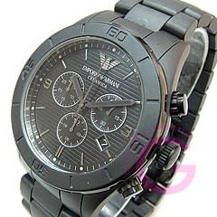 EMPORIO ARMANI ( Emporio Armani ) AR1458 CERAMICA / Ceramica ceramic chronograph black mens watch