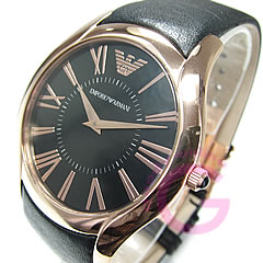 EMPORIO ARMANI ( Emporio Armani ) AR2043 super slim leather belt black × pink gold watch