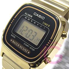 對數碼簡單CASIO(卡西歐)LA-670WGA-1UW/LA670WGA-1UW黄金小孩/小孩是推薦! 可愛! 女子的表手表