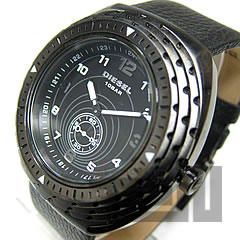 DIESEL (diesel) DZ1241 トリプルベゼル leather belt black mens watch