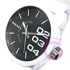 DIESEL (diesel) DZ1518 oversize plastic belt black x white mens watch