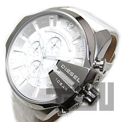DIESEL (diesel) DZ4292 chronograph megasize crown cover leather belt white mens watch