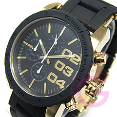 DIESEL (diesel) DZ5322 chronograph rubber / metal belt black x Gold casual ladies watch watches