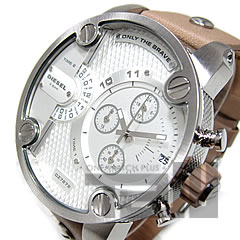 DIESEL (diesel) DZ7272 XXL case dual time frying leather belts silver / beige watch