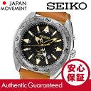 SEIKO (セイコー) SUN055 Kinetic/キネティック GMT ブラックダイアル レザーベルト ブラウン メンズウォッチ 腕時計