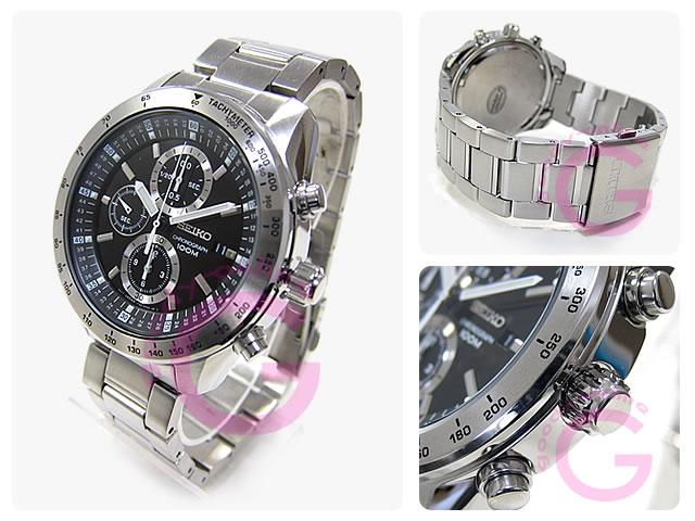 男子的SEIKO 精工 SNDB53P1警报计时仪金属皮带表手表