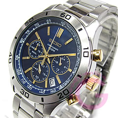 SEIKO ( Seiko ) SSB055P1 chronograph metal belt /SS Navy x Gold duo men's watch