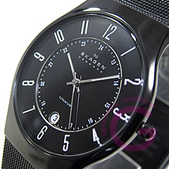 SKAGEN ( Skagen ) 233 XLTMB ultra-slim titanium mesh black mens watch