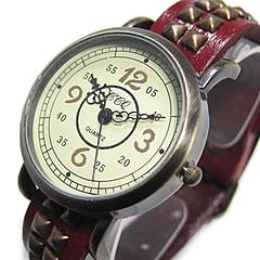 【T2N アンティーク調・アンティーク風 レトロ 腕時計】 T2N-W039-RD ラップブレス スタッズレザーベルト レッド レディースウォッチ 【あす楽対応】