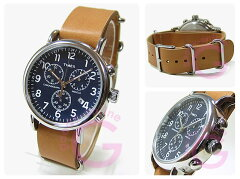 TIMEX(タイメックス)TW2P62300Weekender/ウィークエンダーセントラルパーククロノグラフミリタリーレザーベルトブルーダイアルメンズウォッチ腕時計