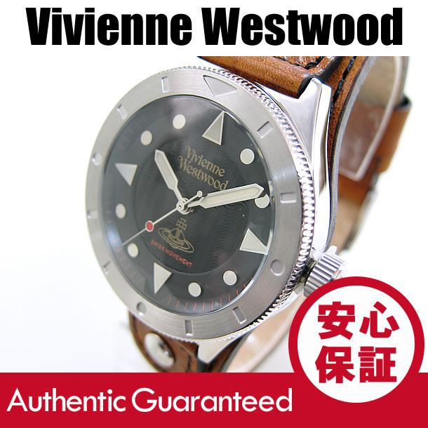 Vivienne Westwood (ヴィヴィアン・ウエストウッド) VV160BKBR レザーベルト ブラックダイアル ビビアン メンズウォッチ 腕時計 【無料ラッピング・弊社1年保証】