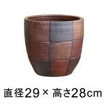 モザイク柄丸深型 おしゃれ 植木鉢 黒茶系 テラコッタ M 29cm 色濃い目の場合もあります